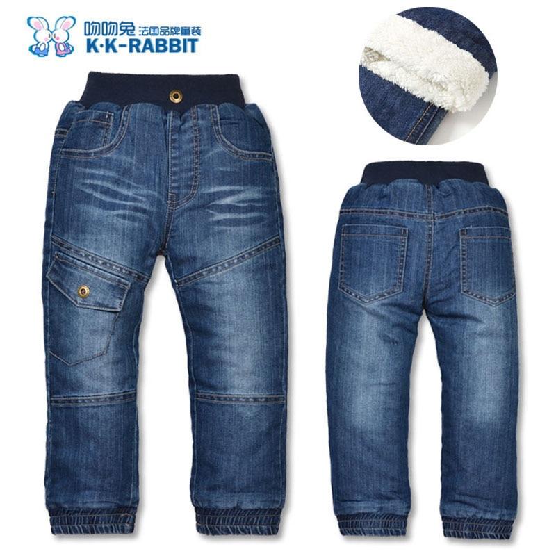 Alta qualidade marca de inverno grosso meninos calças crianças do bebê calças jeans
