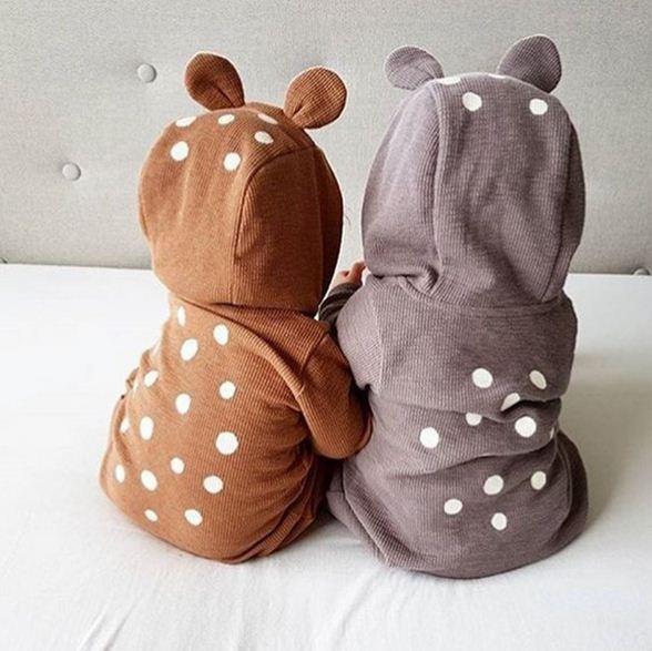 Ropa de bebé recién nacido de dibujos animados oso bebé niño niña con capucha pelele mono ropa de invierno trajes de manga larga peleles de bebé