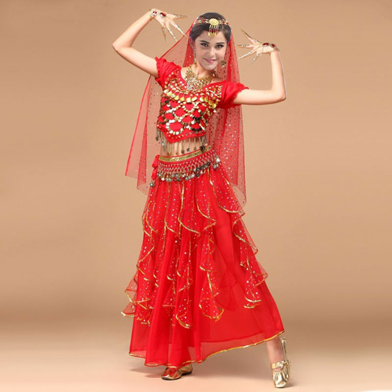 4pcs Set Woman Egypt Performance Belly Dance Costume Indian Triba Gypsy Costume Adult Bellydance Women Belly Dancing Costume Set newest christmas costume santa claus costume suit adult couple performance costume set outfit