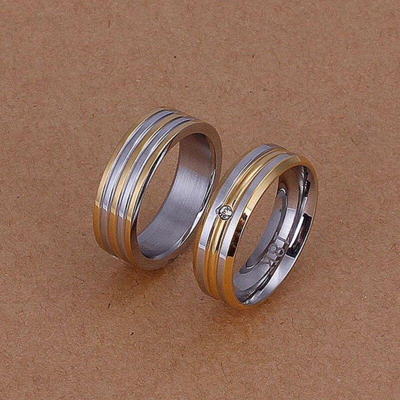 Prata banhado conjuntos de jóias, esterlina-prata-jóias jóias set Stripes Anéis de Ouro S228/OVIVTMNE R099-8 Ring100-8
