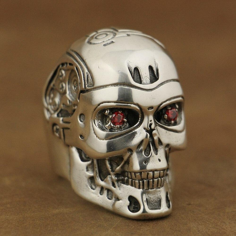 LINSION hecho a mano 925 plata esterlina Circonia cúbica roja ojos Terminator hombres motorista Robot anillo TA80