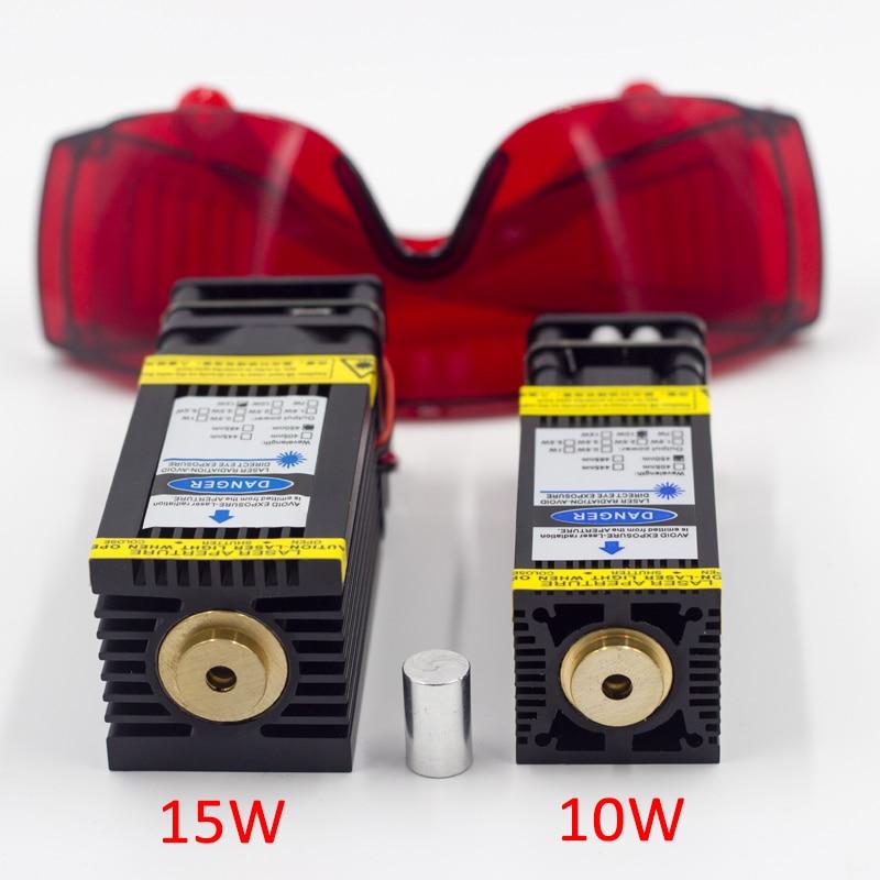 10W 15W קבוע פוקוס לייזר מודול PWM TTL עבור 2 או 3 ציר CNC חריטת מכונת מתכת עץ לייזר חרט מדפסת CNC כחול לייזר