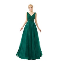 Elegant Tulle V-Neck Backless Evening dresses long Vestido de festa longo Evening gown Vestidos de noche elegantes Serene hill