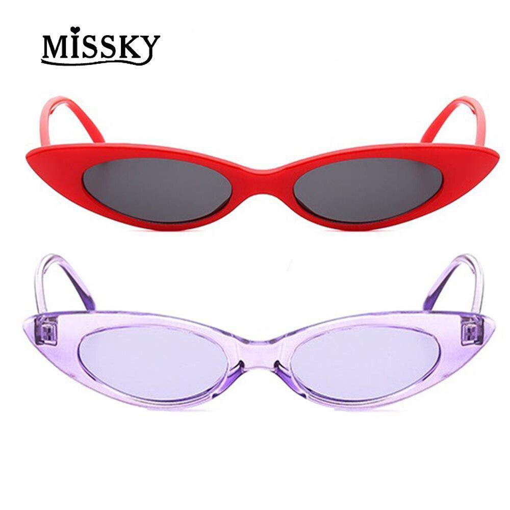 MISSKY Vintage Sexy Ladies Cat Eye Sunglasses Women 2018 New Fashion Brand Designer Small Frame Sun Glasses Female UV400 SAN0