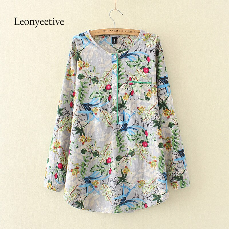 2017 verano otoño talla grande mujer Camisa larga algodón blusas estilo ropa manga larga señoras camisas de talla grande de gran tamaño