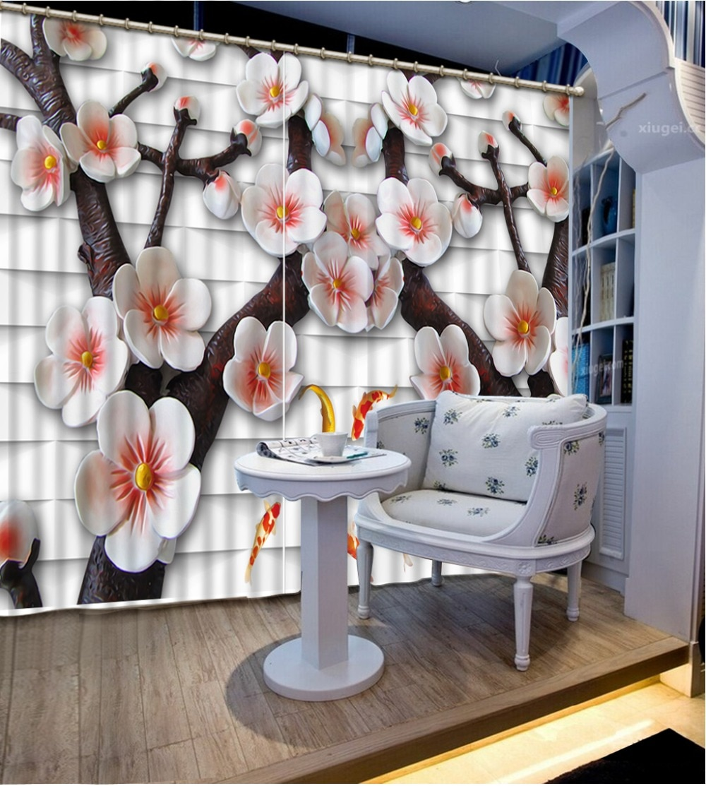 Cortina diseño cortinas para dormitorio a cuadros Fondo en relieve ciruela decoración del hogar dormitorio Blackout cortina tela