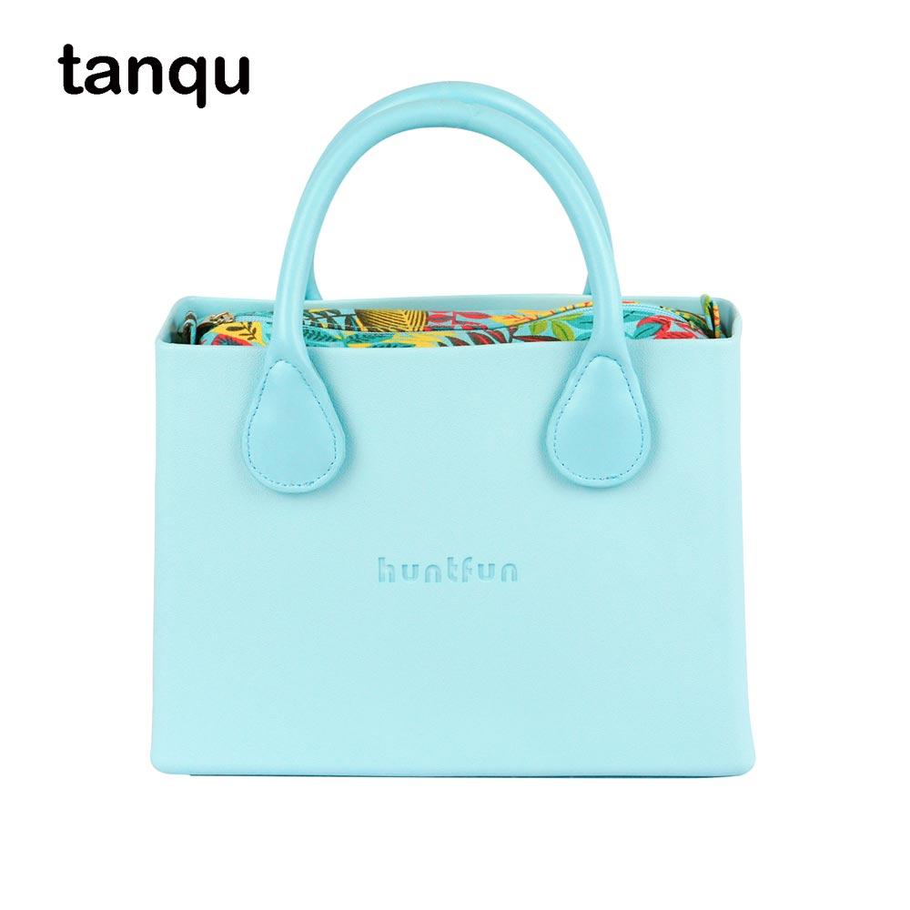 tanqu huntfun square Bag with floral canvas Insert colorful Handles waterproof O bag style women EVA Obag