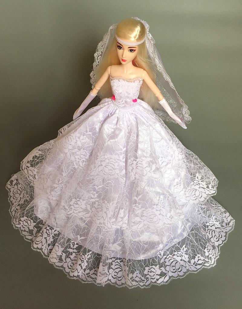 (Envío combinado) 2014 vestido de fiesta blanca de noche vestido de novia guante de velo Rosa atuendo de encaje ropa para novia muñeca Barbie kurhn