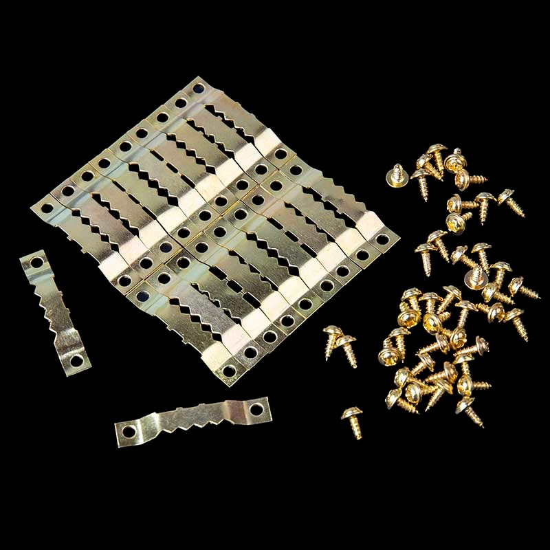 20 Sets/Pack Golden Hanging pintura al óleo espejo marco Saw diente ganchos perchas