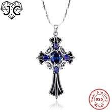 J.C femme brillant pendentif croix Design ovale saphir Tanzanite topaze solide 100% 925 Sterling argent collier bijoux fins
