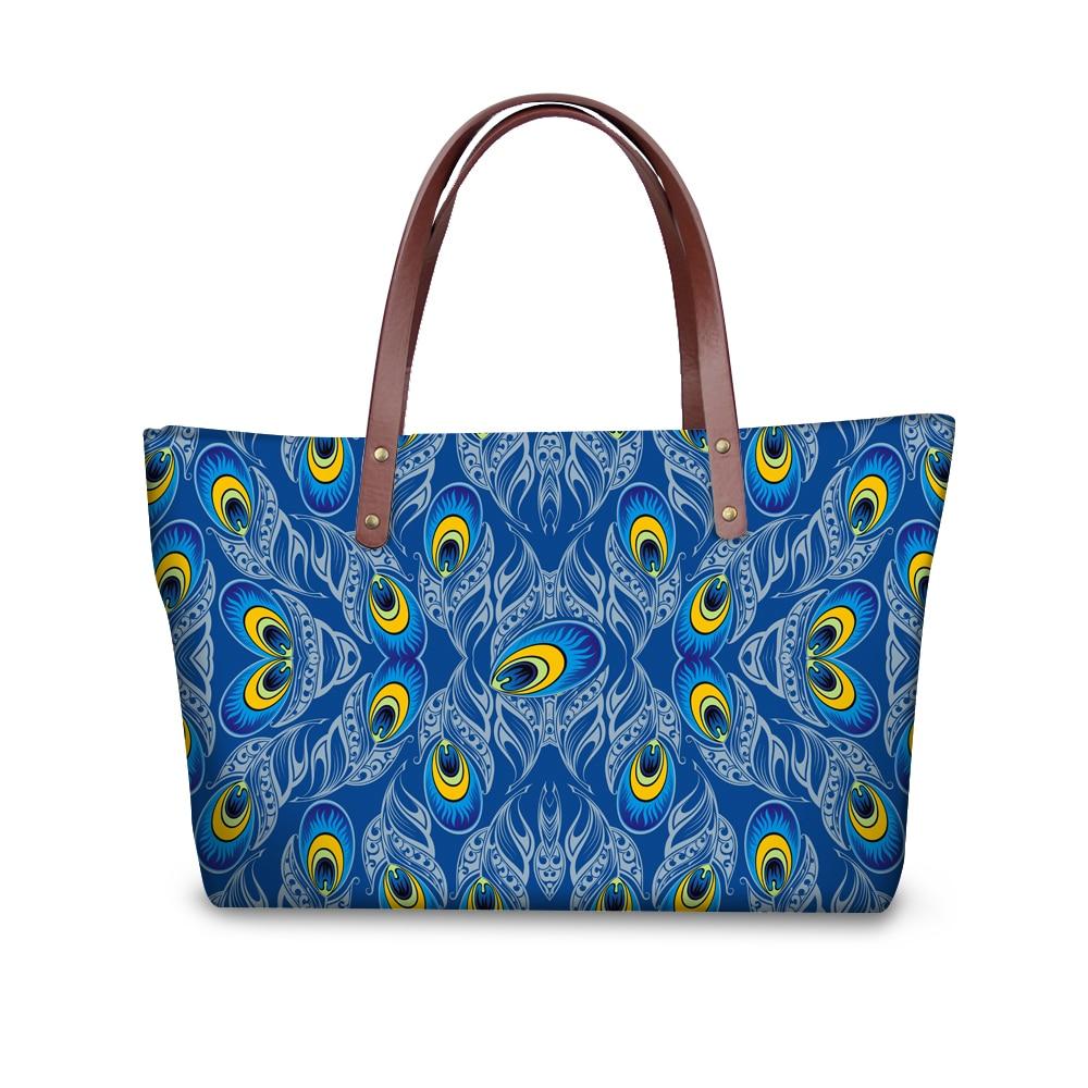 Bolso personalizado bonito para mujer, bolso con estampado de amuletos de pavo real para chicas universitarias, bolso con asa de calidad, bolso grande de hombro
