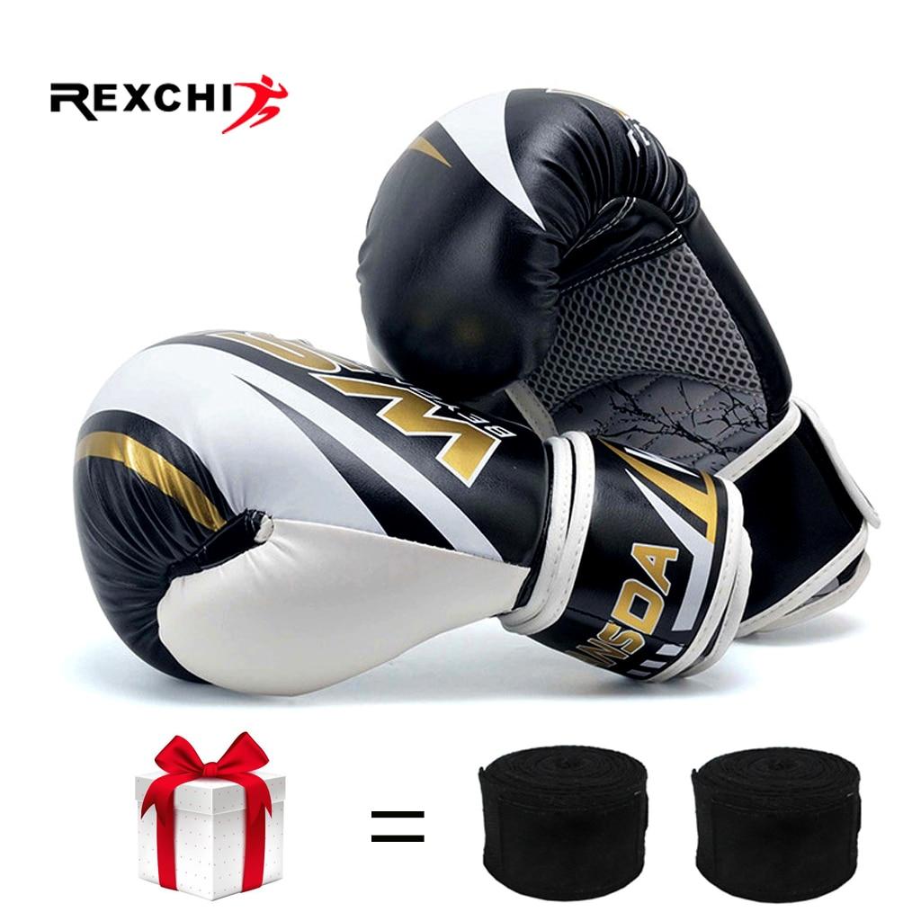 REXCHI PU Kick Boxing guantes para hombres mujeres Karate guantes De Muay Thai De Boxeo Lucha Libre MMA Sanda entrenamiento adultos niños equipo