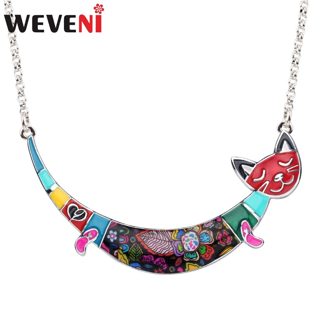 Collar de aleación de esmalte WEVENI colorido con Gato sonriente gargantilla con cadena colgante joyería de Animal de dibujos animados para mujeres niñas accesorio de regalo para adolescentes
