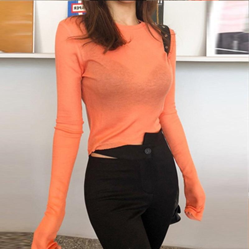 Jersey camiseta sexy moda mujer camiseta skinny Tops Bodycon algodón de manga larga blusa niñas otoño camiseta blusas mujer de moda