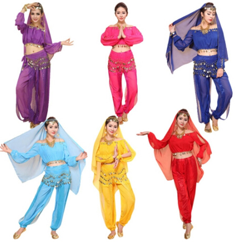 2Pcs/set Women Indian Arabic Isreal Dance Costumes Bollywood Dress Dancewear Belly Dance Costume Set(Top+pants)