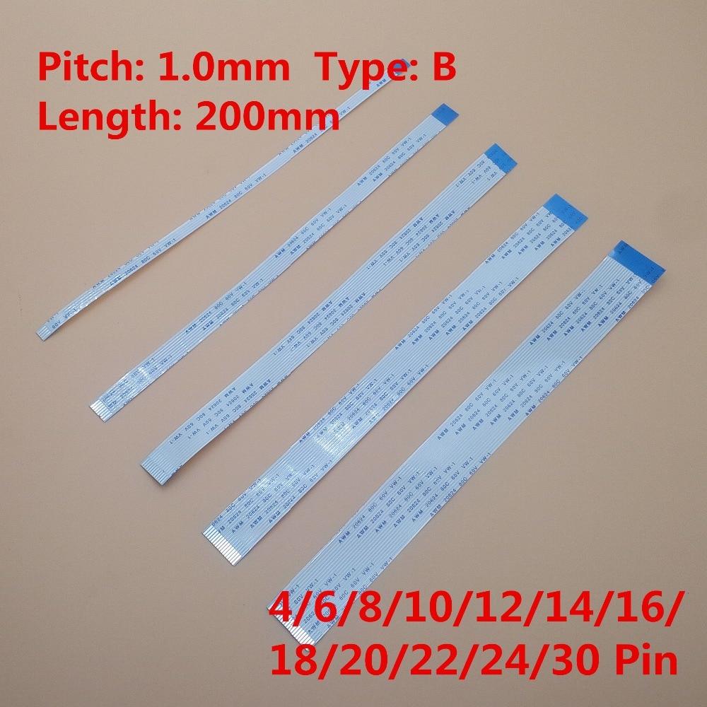10 pcs FFC 200mm 1.0mm 4/6/8/10/12/14/16/18/20/22/24/30 Pin Tipo B Reverter Lado Flexível flat cable AWM 20624