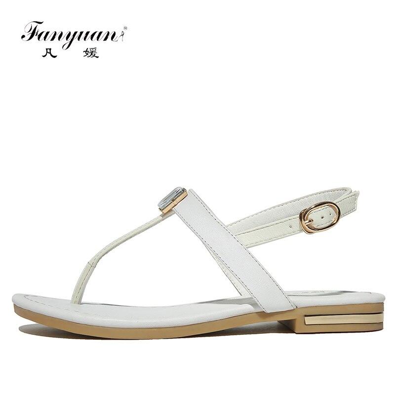 Fanyuan sandalias de cuero de moda de mujer Sandalias de diamantes bohemios mujer pisos Chanclas Zapatos de verano sandalias de playa tamaño 42