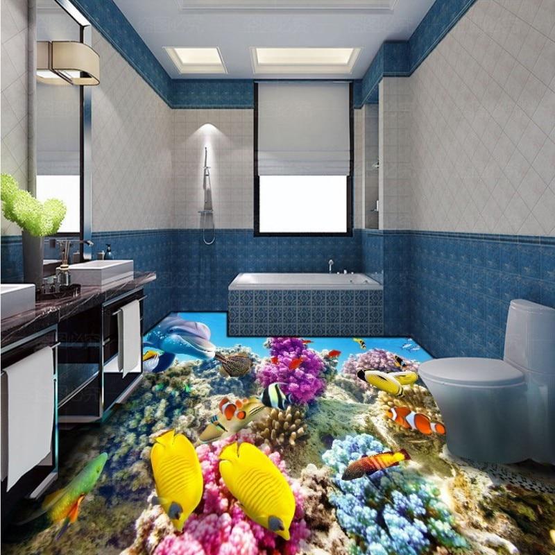 Envío Gratis HD 3d stereo coral reef tropical fish baño dormitorio piso autoadhesivo sala de estar Oficina suelo mural