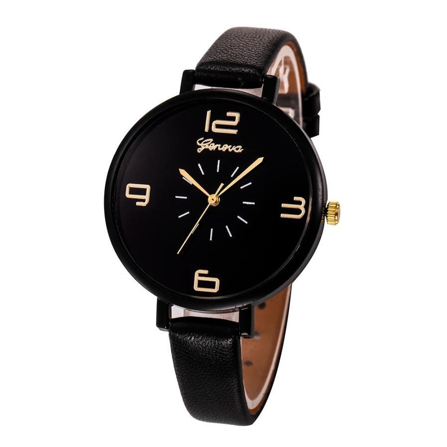 Geneva Watch 2019 Luxury Women Watches Casual Checkers Faux Leather Quartz Analog Wristwatch Lady Cl