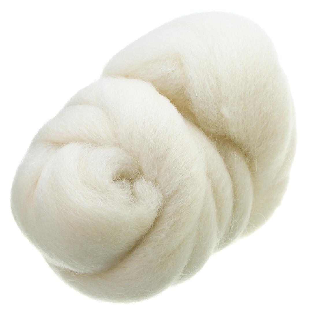 50g lechoso blanco Corriedale teñido lana fibra Tops Roving aguja DIY fieltro lana fibra para muñeca costura proyectos Mayitr