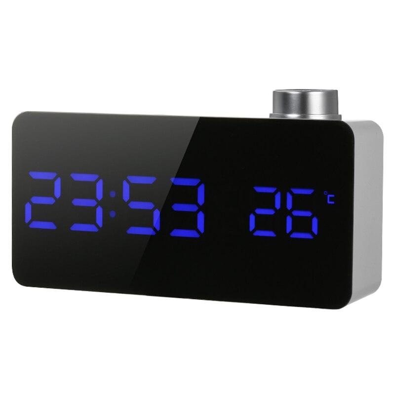 SZS Despertador con efecto espejo y luz Led reloj de mesa Usb 12 H/24 H pantalla alarma con perilla giratoria ajustable Led Luminance Snooze F