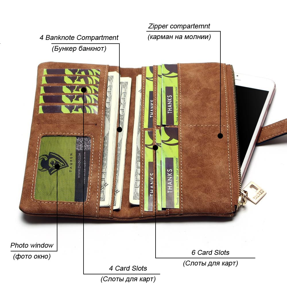 2021 New Fashion Women Wallets Drawstring Nubuck Leather Zipper  Long Design Purse Two Fold More Color Clutch
