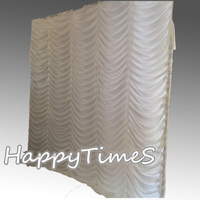 3*3m decoraciones de fondo de evento cortina de boda telón de fondo cortinas en Color blanco de diseño ondulado