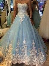 Alexzendra bleu clair chérie robe de bal dentelle robe de mariée 2019 personnaliser robe de mariée grande taille vestido de novia