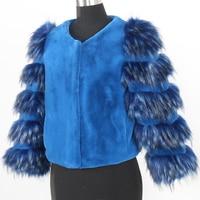Nerazzurri faux fur coat women big size short cropped top blue Autumn winter warm furry fake sheared mink fur jacket 5xl 6xl 7xl