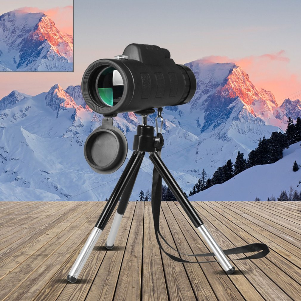AliExpress - 40X60 Monocular Telescope Wide Angle HD Night Vision Prism Scope With Compass Phone Clip Tripod Outdoor Portable Telescope