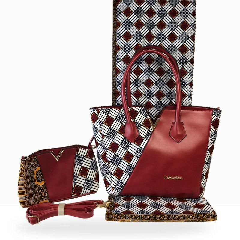 جديد أنيق الشمع امرأة حقيبة يد و 6 ياردة مجموعة النسيج أحدث حقيبة قطنية النمط الإيطالي وملابس قماش خياطة