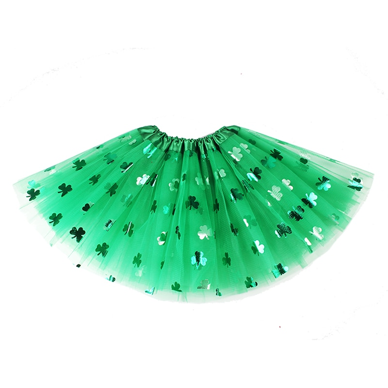 0-6Y Baby Girl Clothes St Patricks Day Skirts 3 Layers Tulle Petticoats Green Sparkle Kids Girls Tutu Skirt Holiday Costume