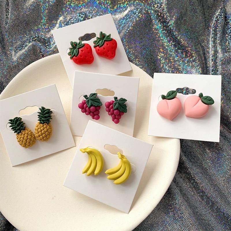 Cute Fruit Strawberry Stud Earrings for Women Sweet Summer Korean Banana Peach Grape Pineapple Resin Ear Jewelry Party Gifts