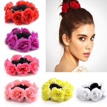 Big Rose Flower Elastics Hair Holders Rubber Bands Girls Women Cute Tie Gum Fabric Hot Wreaths Crowns Wedding Hair Accessories