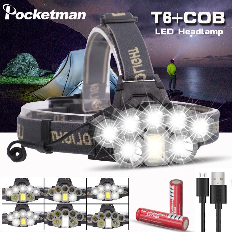 Перезаряжаемая USB фара, супер яркий налобный фонарь 2 * T6 + 5 * Q5 + 1 * COB, светодиодный налобный фонарь, фонарь, фонарь 18650 аккумулятор