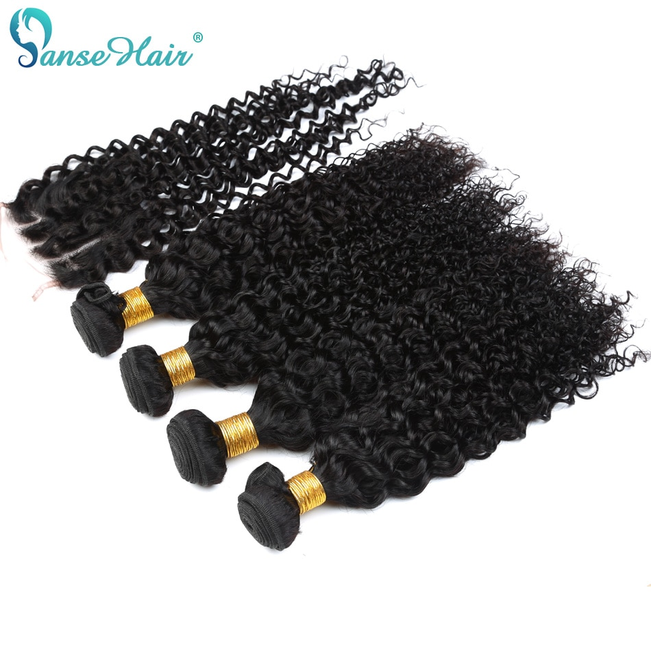 Indian Virgin Hair Kinky Curly Hair Weaving 3 Bundles Weft With 1 PC Closure 4X4 Customized 8 To 28 Inches Non-Remy