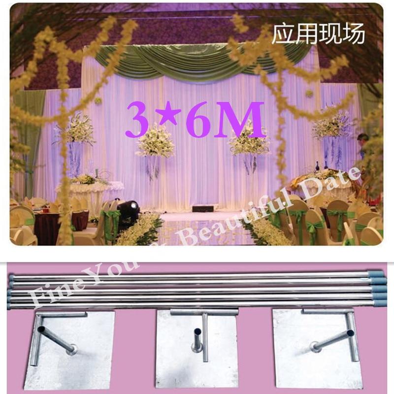 قضبان قابلة للتوسيع من الفولاذ المقاوم للصدأ ، 3 × 6 م ، للاستخدام في حفلات الزفاف ، وخلفية الدعم ، وديكورات أعياد الميلاد ، والتسليم المباشر