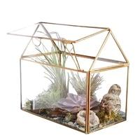 retro geometric house shape glass micro landscape flower house copper strip glass greenhouse flower room with bracket