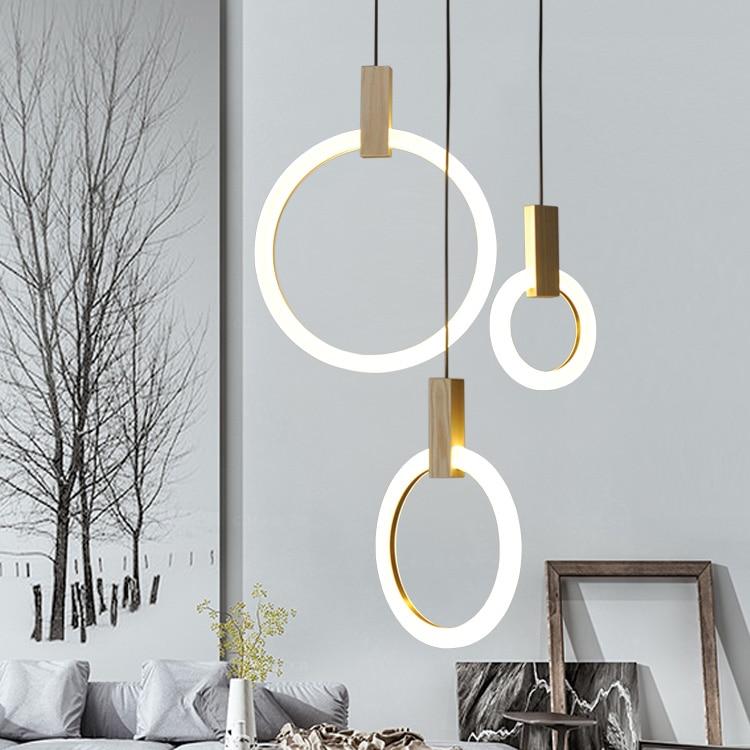 Wood Pendant Acrylic LED Ring Pendant Light For Dinning Room Restaurant Kitchen Light LED Pendant Lamp luminaire lamparas  - buy with discount