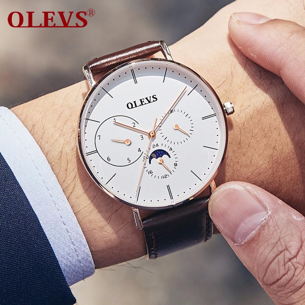OLEVS, relojes de gran cara para hombre, correa de malla de acero de fase lunar, relojes de pulsera para hombre, correas de reloj de cuero a prueba de agua, reloj para hombre 6860