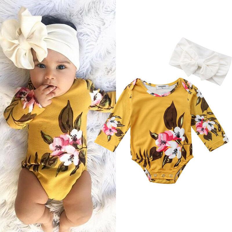 Baby Girl Long sleeve Floral Bodysuit with Headband