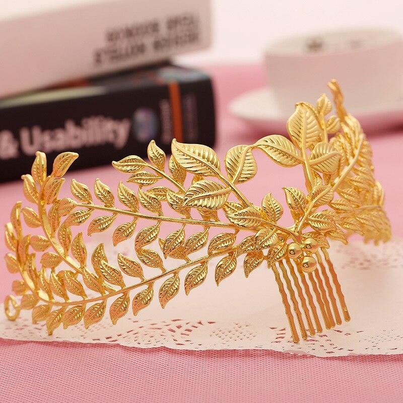 Europea color oro tiara de hojas de novia cabello de novia con...