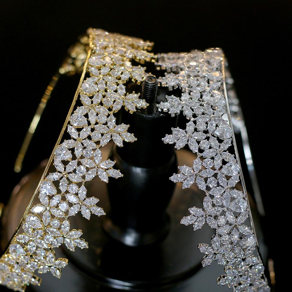 Corona cubica de Zirconia cúbica de Oro/Plata, joya de Moda Nupcial y...