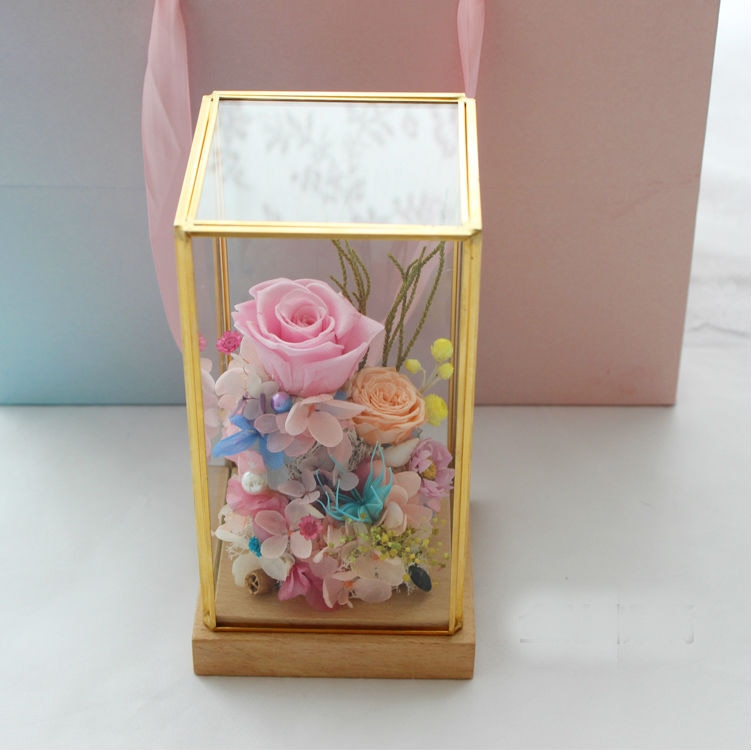 Preserved Immortal Fresh Flower Rectangle Glass Cover Valentine Day Gifts Home Living Room Decorations