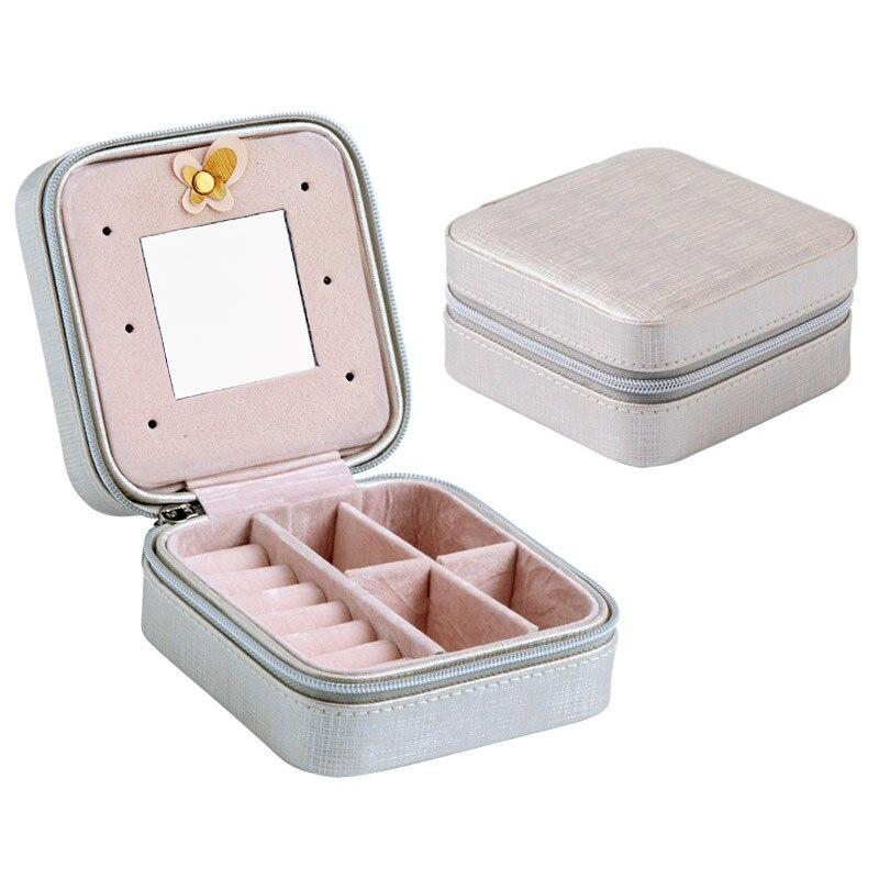 Viajar de Mini Caixa de Jóias de Couro PU Caso Jóias Embalagem Anel Brinco Caixa de Exibição Organizador Zipper Mulheres Jewellry Presente Portátil