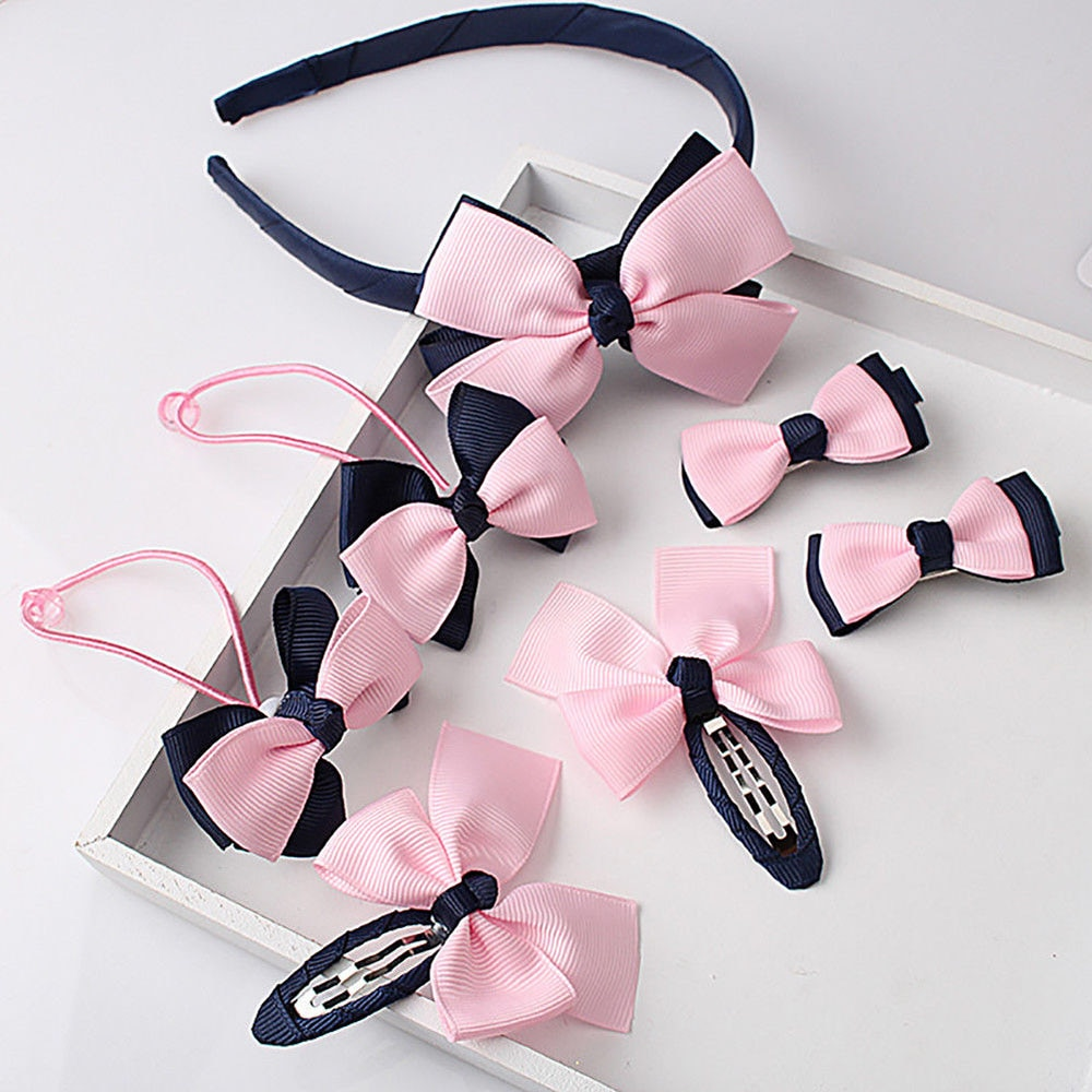 1set=7pcs Cute Children Hair Accessories Hairband Hairpins scrunchies Baby Girls Lovely Bow Headwear Kids Hair Clip Headband недорого