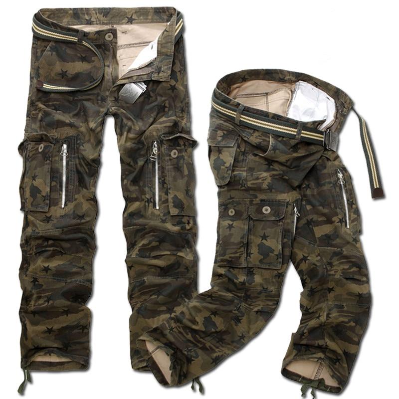 Новые модные мужские повседневные военные брюки-карго камуфляжные свободные прямые длинные свободные камуфляжные брюки больших размеров