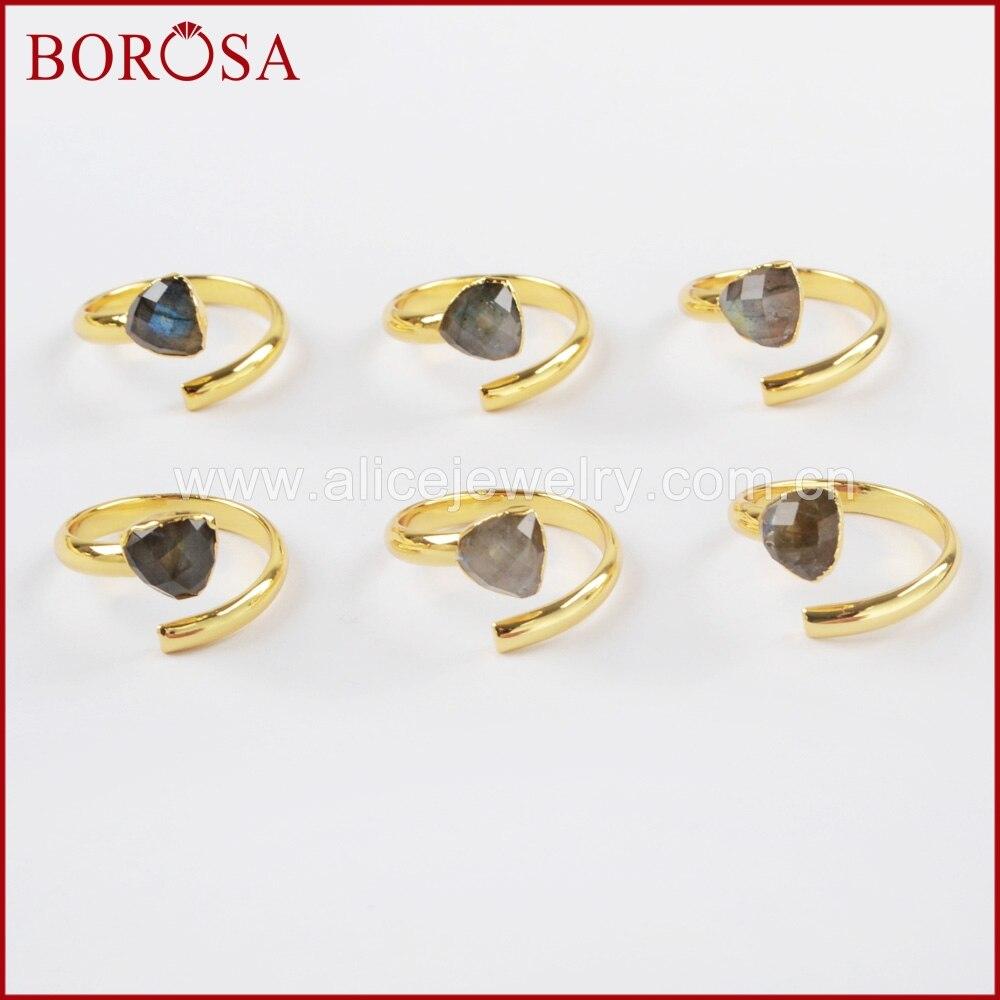 BOROSA جديد حار 10 قطعة الذهب اللون الطبيعية اللابرادوريت الأوجه التعشيب الدائري الأحجار الكريمة خواتم بالجملة للنساء Druzy مجوهرات خاتم G1490