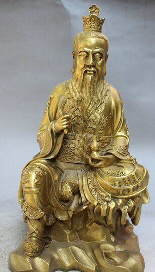 """Fábrica al por mayor 14 """"estatua Popular China de taoísmo de latón taoísta de LaoJun Dios inmortal calabaza 25% de descuento"""