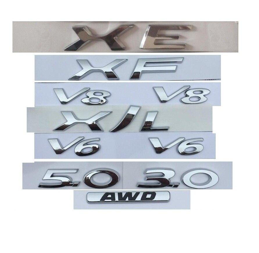 Cromo letras XE XJ XJL XF V8 V6 3,0 5,0 AWD maletero trasero insignia emblema insignias para XE XF XJ XJL XFL FP FT